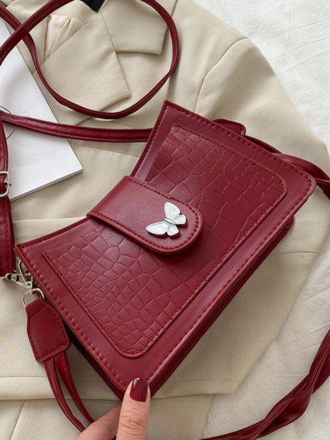 Sac à Bandoulière Texturé Papillon en Couleur Unie - Rouge Vineux  Mobile