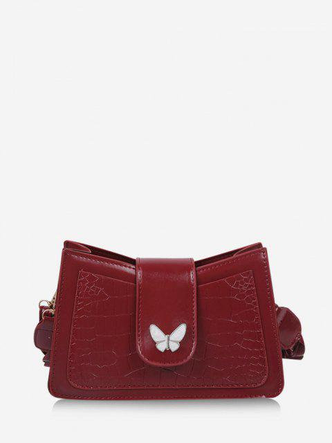 Wrinkle Butterfly Textured Solid Crossbody Bag - نبيذ احمر  Mobile