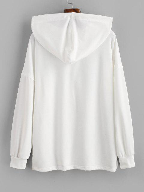 outfit Drawstring Button Front Side Slit Hoodie - WHITE M Mobile