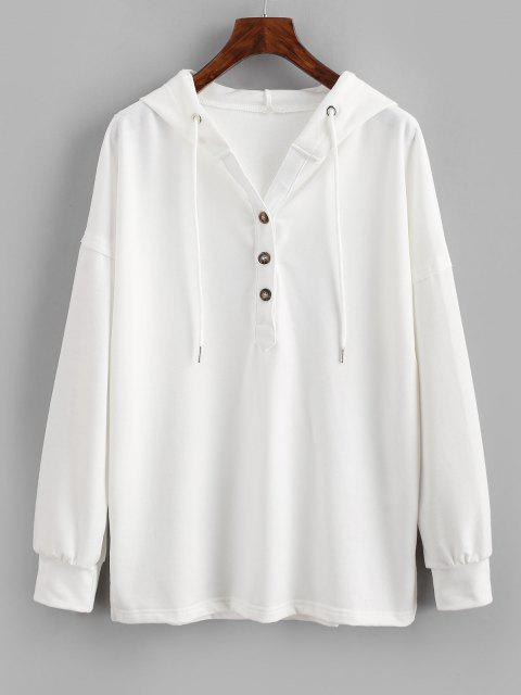 Drawstring Button Front Side Slit Hoodie - أبيض L Mobile