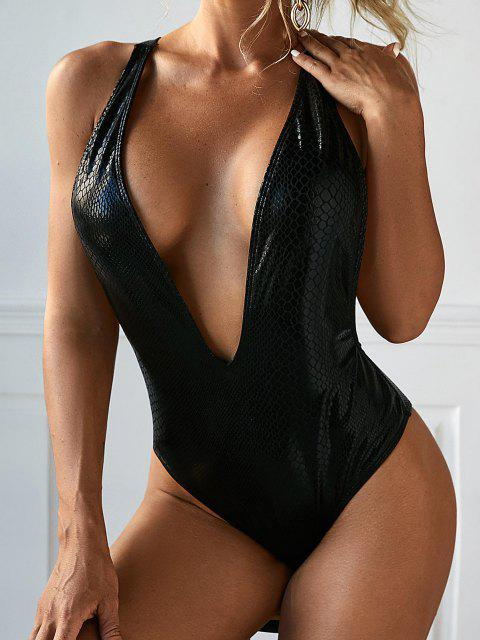 new ZAFUL Metallic Snakeskin Plunging Backless One-piece Swimsuit - BLACK S Mobile