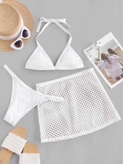 hot ZAFUL Fishnet Insert Halter Three Piece Tanga Bikini Swimwear - WHITE M Mobile