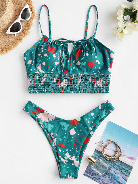 lady ZAFUL Paint Splatter Shirred Detail High Cut Tankini Swimwear - SEA GREEN M Mobile