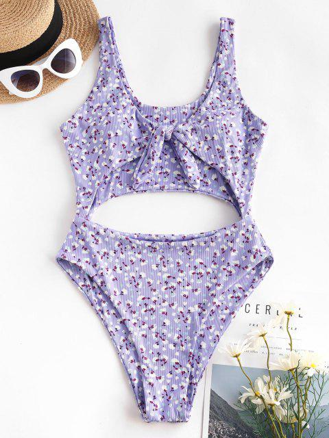 fashion ZAFUL Ditsy Floral Tie Front Cut Out One-piece Swimsuit - PURPLE XL Mobile