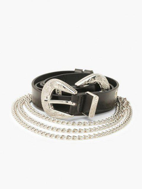 womens Layers Chains Double Buckle Belt - BLACK  Mobile