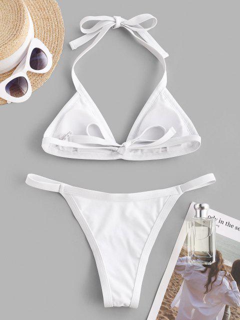 affordable ZAFUL Halter Fishnet Insert Tanga Bikini Swimwear - WHITE S Mobile