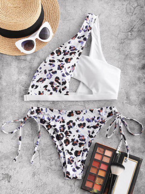 ZAFUL Costume da Bagno Bikini Annodato Leopardato a Monospalla - colore di caffè scuro  S Mobile