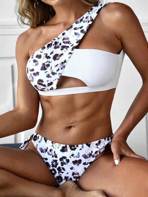 ZAFUL Leopard Ausschnitt Einziger Schulter Bikini Badebekleidung - Tiefkaffee M Mobile