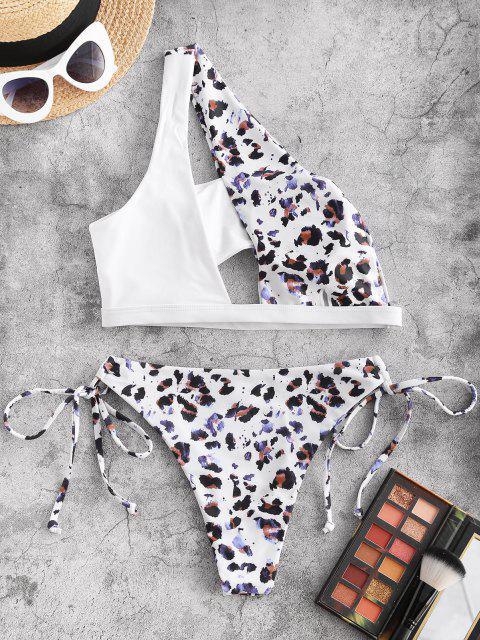 women ZAFUL Leopard Tied Cutout One Shoulder Bikini Swimwear - DEEP COFFEE L Mobile