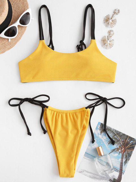 chic ZAFUL Ribbed Dual Straps Tie Side Bikini Swimwear - DEEP YELLOW S Mobile