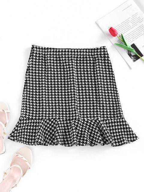 affordable Houndstooth Mini Mermaid Skirt - BLACK S Mobile