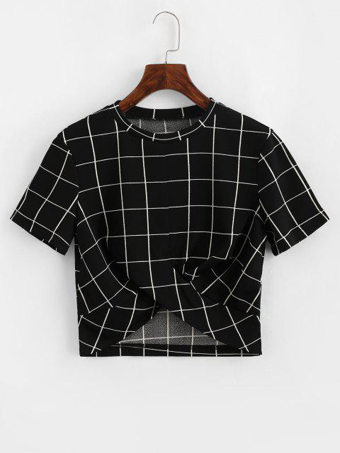 outfits ZAFUL Cropped Grid Plaid Twist Tee - BLACK M Mobile