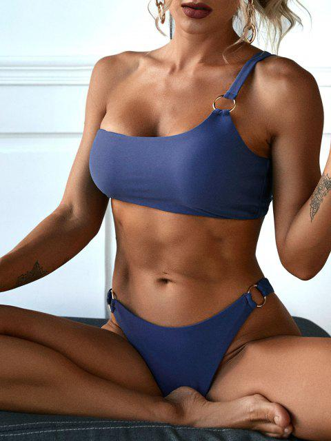 lady ZAFUL One Shoulder Metal Ring Bikini Swimwear - DEEP BLUE M Mobile