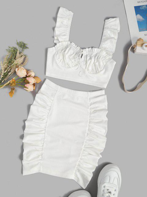 latest Ruched Tie Ruffle Two Piece Skirt Set - WHITE S Mobile