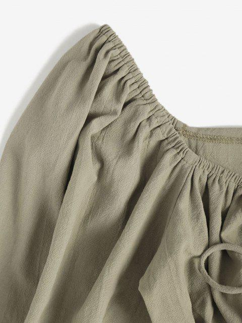 women's Tie Front Cutout Crop Blouse - LIGHT GREEN M Mobile