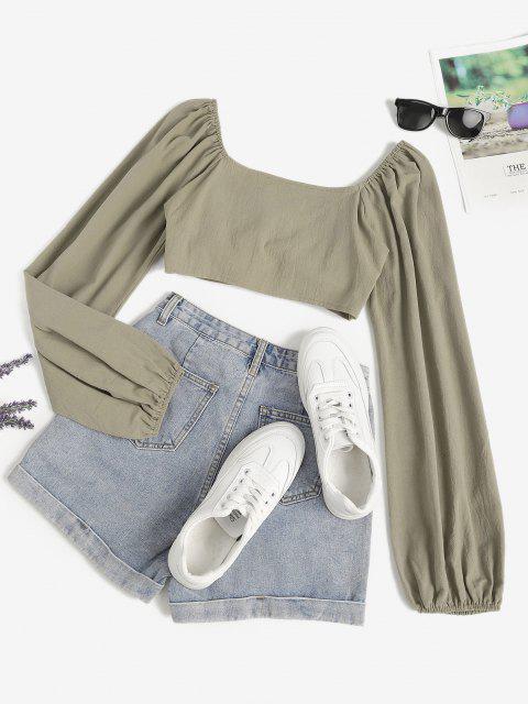 ladies Tie Front Cutout Crop Blouse - LIGHT GREEN S Mobile