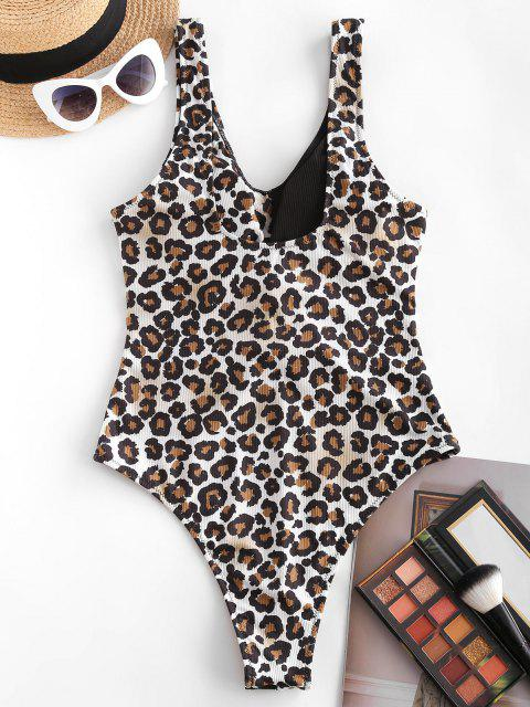 fashion ZAFUL Ring Ribbed Cutout Leopard One-piece Swimsuit - BLACK XL Mobile