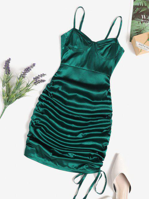 online Cinched Cupped Mini Bodycon Dress - DEEP GREEN S Mobile