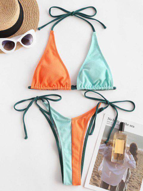 ZAFUL Gebundenes Neckholder Seitliche Farbblock Bikini Badebekleidung - Multi S Mobile
