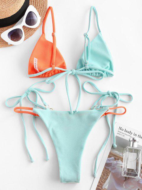 best ZAFUL Plunge Two Tone Tie Side Bikini Swimwear - MULTI M Mobile