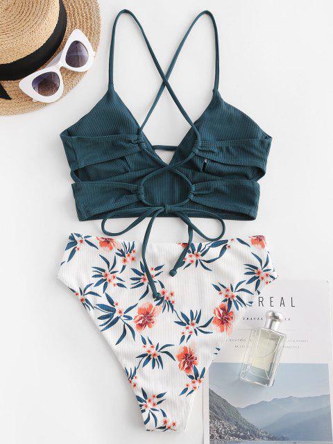 ladies ZAFUL Ribbed Flower High Cut Lace-up Tankini Swimwear - DEEP GREEN L Mobile