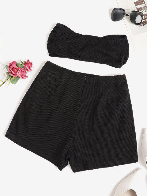 womens Knitted Square Ring Pocket Bandeau Shorts Set - BLACK S Mobile