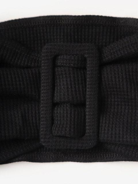 outfits Knitted Square Ring Pocket Bandeau Shorts Set - BLACK L Mobile
