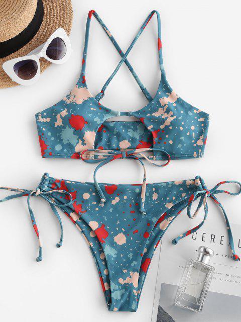 women ZAFUL Keyhole Bowknot Criss Cross Tie Dye Bikini Swimwear - DEEP GREEN L Mobile