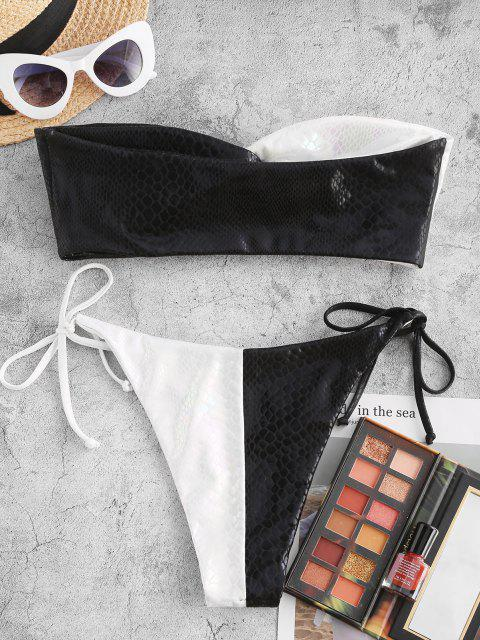 women's ZAFUL Two Tone Snake Print Twist Bandeau Bikini Swimwear - BLACK M Mobile