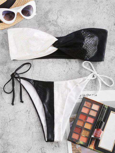 ladies ZAFUL Two Tone Snake Print Twist Bandeau Bikini Swimwear - BLACK L Mobile