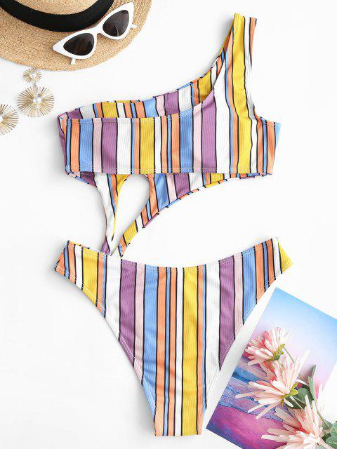 best ZAFUL Colorful Striped Ribbed One Shoulder Cut Out One-piece Swimsuit - MULTI S Mobile