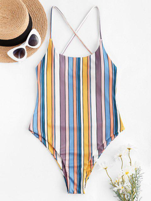ZAFUL Colorful Striped Ribbed Criss Cross One-piece Swimsuit - متعدد M Mobile