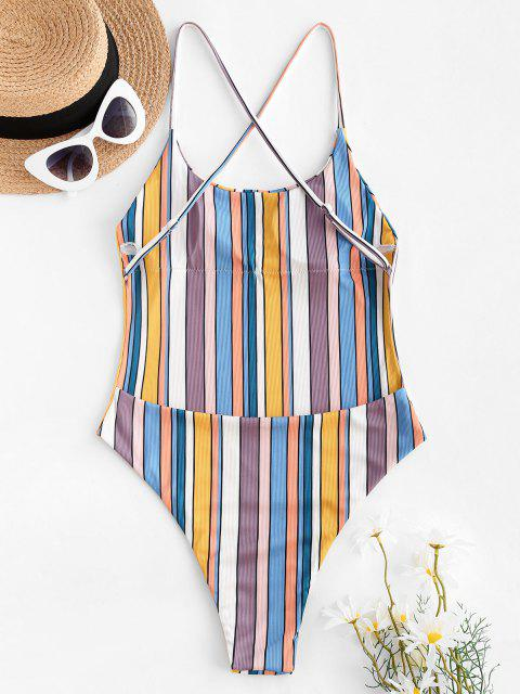 outfits ZAFUL Colorful Striped Ribbed Criss Cross One-piece Swimsuit - MULTI M Mobile