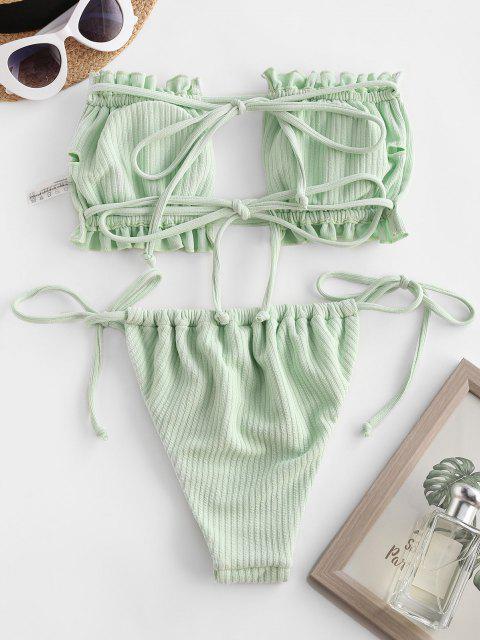 best ZAFUL Strapless Cutout Tie Side Ruffle Bikini Swimwear - GREEN S Mobile