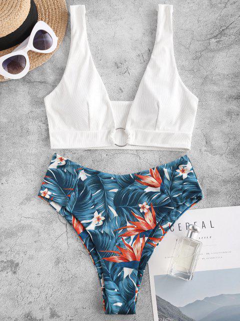 ladies ZAFUL Ribbed Plunge Flower Leaf Ring Tankini Swimwear - DEEP BLUE L Mobile