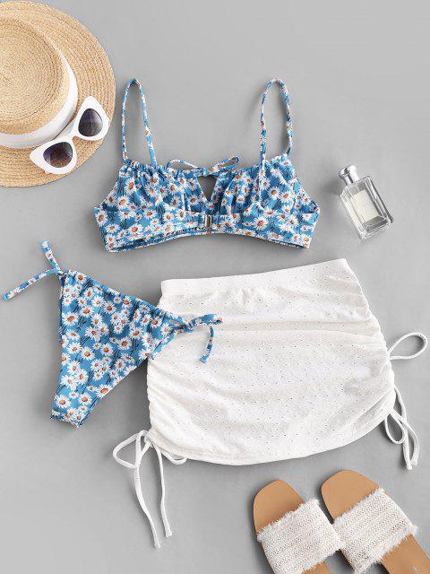 buy ZAFUL Daisy Tie Side Cinched Three Piece Bikini Swimwear Set - LIGHT BLUE S Mobile