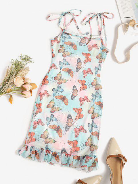 latest Mesh Butterfly Print Tie Shoulder Mermaid Dress - MULTI S Mobile