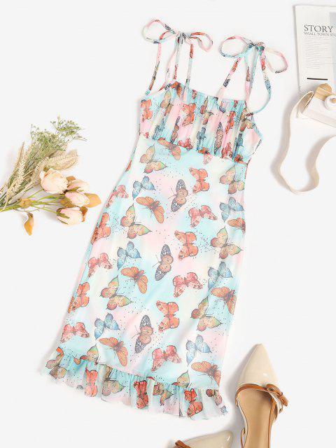trendy Mesh Butterfly Print Tie Shoulder Mermaid Dress - MULTI XL Mobile