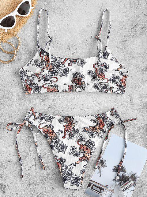online ZAFUL Tiger Flower Oriental Ribbed High Leg Bikini Swimwear - WHITE S Mobile