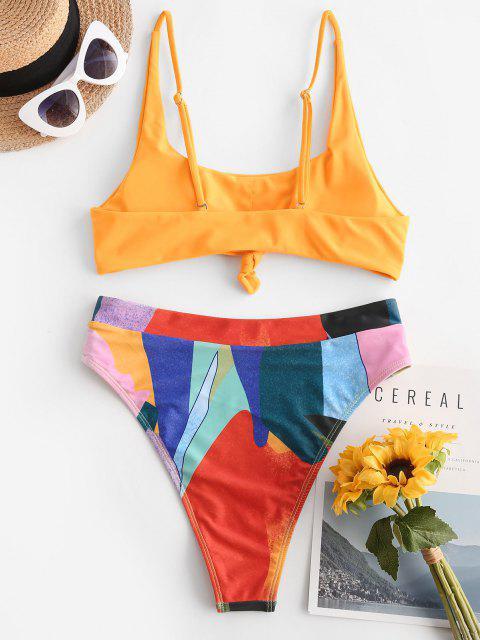 lady ZAFUL High Waisted Knotted Colorblock Tankini Swimwear - YELLOW M Mobile