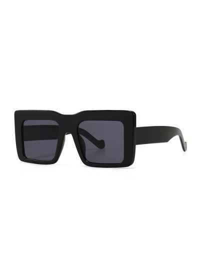 Retro Wide Frame Square Sunglasses - Black