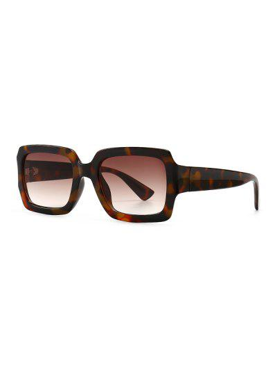 Retro Gradient Rectangle Sunglasses - Leopard
