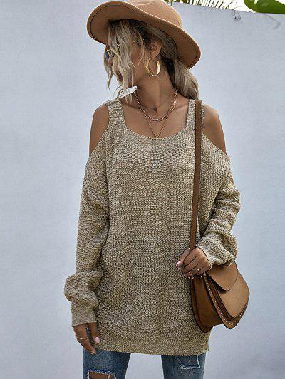 Heathered Cold Shoulder Oversize Sweater - Light Coffee M