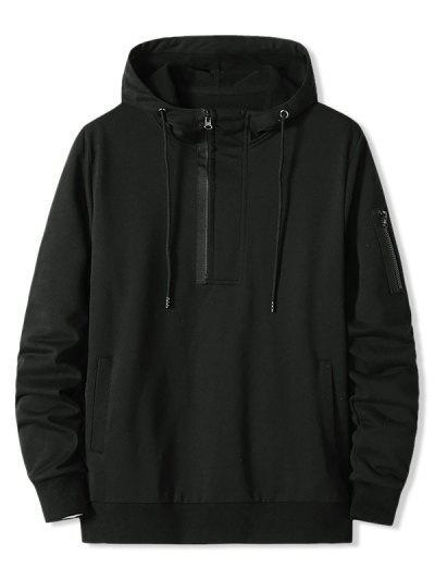 Zipper Pocket Half Zip Hoodie - Black Xl