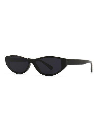 Narrow Kitten Eye Retro Sunglasses - Black