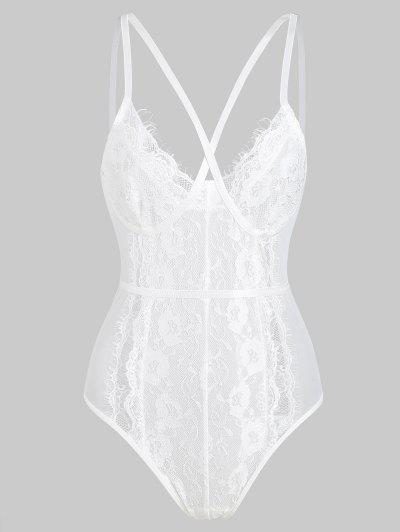 Crisscross Front Lace And Mesh Snap Crotch Teddy - White S