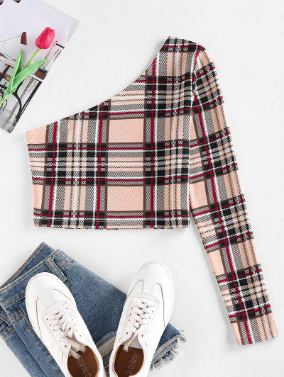 ZAFUL Plaid One Shoulder Crop T Shirt - Light Coffee S
