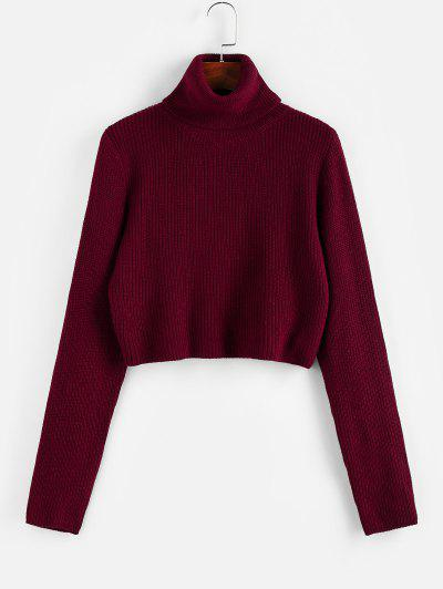 ZAFUL Turtleneck Plain Crop Sweater - Red Wine S