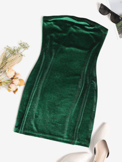 バンドゥベルベットボディコンドレス - 深緑 S