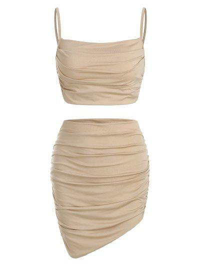 Ruched Slinky Two Piece Dress - Tan Xs